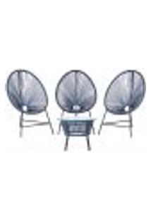 Cadeiras De Área E Mesa Acapulco Bahamas Azul Marinho Corda Sintetica (3 Unidades)