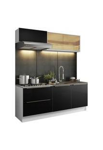 Cozinha Completa Madesa Lux Com Armário E Balcão 5 Portas 2 Gavetas Branco/Preto Cor:Branco/Preto