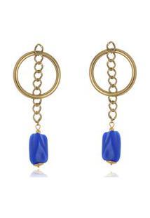 Brinco Le Diamond Circulo Com Corrente E Pedras Azul