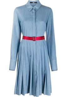 Karl Lagerfeld Logo Belt Dress - Azul