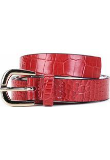 Cinto Couro Shoestock Médio Feminino - Feminino-Vermelho