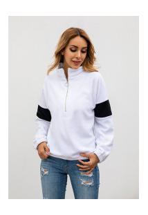 Casaco Feminino Jhesey Gola Alta Com Zipper - Branco