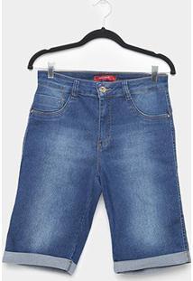 Bermuda Jeans Biotipo Plus Size Corsário Cintura Alta Feminina - Feminino-Azul