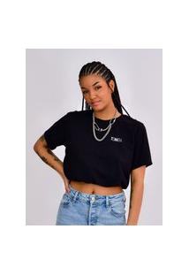 Camiseta Cropped Toneh Regulador Preta Preto