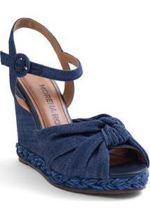Sandalia Salto Alto Fivela Forrada Azul