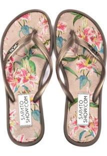 755b1518a ... Chinelo Sapato Show Tecido Estampado Feminino - Feminino-Dourado