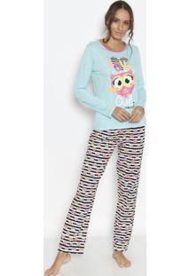 Pijama Coruja- Azul Claro & Rosa- Puketpuket