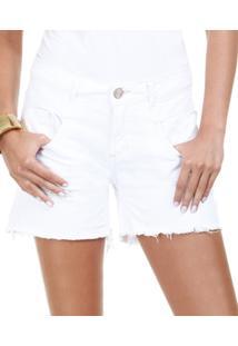 Bermuda Feminina Em Jeans Com Destroyed