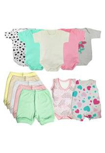 Roupa De Bebê Bonita E Estilosa Verão Kit 12 Peças Enxoval Rosa