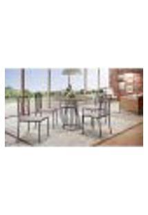 Conjunto De Mesa De Jantar Marrocos Com Tampo Siena E 5 Cadeiras Atos Linho Bege E Café