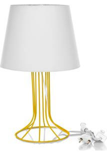 Abajur Torre Dome Branco Com Aramado Amarelo