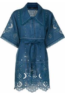 Vita Kin Vestido De Linho Com Bordado Inglês - Azul