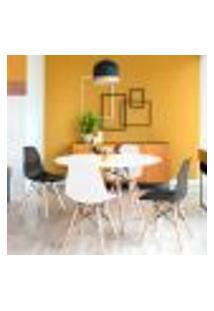 Conjunto De Mesa De Jantar Com 4 Cadeiras Eames Eiffel Premium Branco E Preto