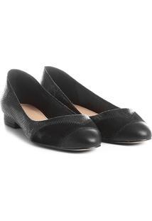 Sapatilha Couro Shoestock Patchwork Feminina - Feminino-Preto