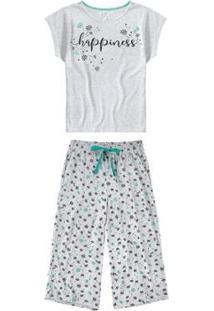 Pijama Malwee Liberta Pantacourt Happiness Feminino - Feminino-Cinza Claro