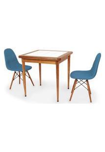 Conjunto Mesa De Jantar Em Madeira Imbuia Com Azulejo + 2 Cadeiras Botonê - Turquesa