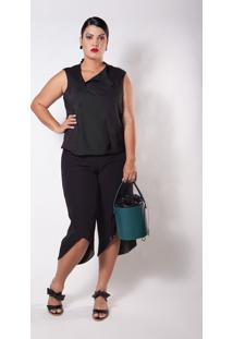 Blusa Kapsuli Plus Size Decote Assimã©Trico Preta - Preto - Feminino - Poliã©Ster - Dafiti