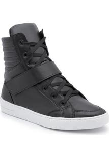 Tênis Top Franca Shoes Cano Alto Feminino - Feminino-Preto