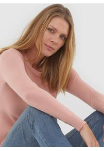 Blusa Facinelli By Mooncity Tricot Textura Rosa - Kanui