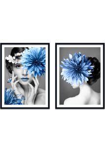 Quadro 67X100Cm Eda Mulher Com Flores Azuis Nórdico Moldura Preta Sem Vidro