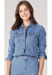 Jaqueta Feminina Em Jeans Cotelê - Azul