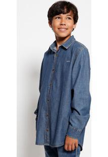 Camisa Jeans Com Bordado - Azul Escuro - Colcci Funcolcci