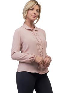Camisa Mx Fashion Crepe Frufru Violetta Rosa