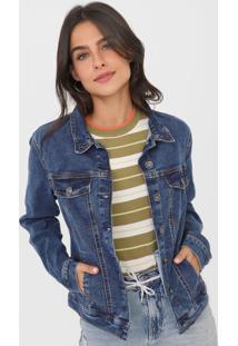 Jaqueta Jeans Hering Recortes Azul - Azul - Feminino - Algodã£O - Dafiti