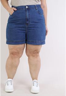 Short Jeans Feminino Mindset Plus Size Reto Cintura Alta Com Bolsos Azul Escuro