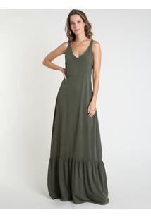 Vestido Feminino Mindset Longo Com Recorte Alça Média Verde Militar