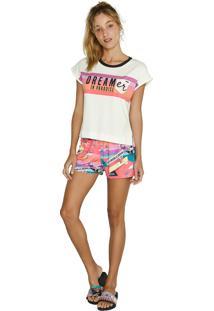 Pijama Comfort Curto Dreamdise Lua Luá Multicolorido Branco