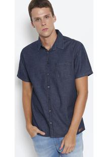 Camisa Jeans Com Bolso- Azul Escuro- Colccicolcci