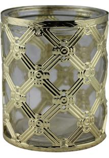 Castiçal Decorando Com Classe De Metal E Vidro Dourado 8,5Cmx10Cm