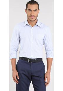 Camisa Masculina Comfort Listrada Com Bolso Manga Longa Off White