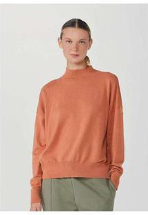Blusão Feminino Modelagem Box Em Tricot Laranja