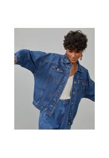 Amaro Feminino Jaqueta Jeans Elástico Barra, Azul Médio