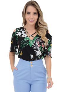Blusa Mamorena Ombro Vazado Tiras Decote Multicolorido
