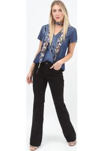 Blusa Jeans Com Bordados - Azul - Scalonscalon
