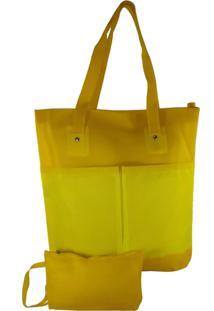 Bolsa Bag Dreams De Praia Impermeável Branca Com Bolsos Amarela - Kanui