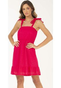 Vestido Curto De Alça Em Tecido Plano Pink