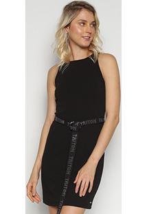 Vestido Triton Curto Cinto - Feminino-Preto