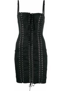 Dolce & Gabbana Vestido Com Corset Em Jacquard - Preto