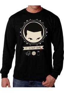 Camiseta Manga Longa Oba!- Eleven Preto