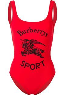 Burberry Maiô Com Logo - Vermelho