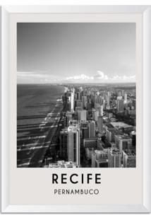 Quadro Oppen House 65X45Cm Cidades Recife Brasil Moldura Branca Sem Vidro - Oppen House Decora