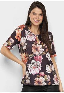 Camiseta Lança Perfume Estampada Recorte Feminina - Feminino-Preto