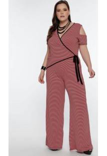 Macacão Plus Size Listrado Rosa/Preto