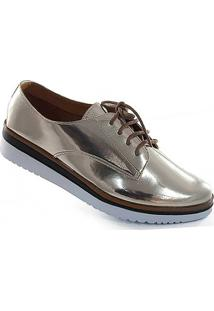 9173803c40 ... Oxford Sapato Show Metalizado - Feminino-Dourado