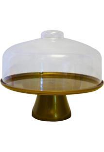Boleira Cake Com Cúpula 19,5 Cm Dourado Coza