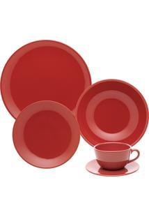 Aparelho De Jantar E Chá Oxford 20 Peças Cerâmica Unni Red Vermelho